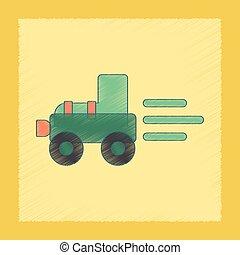 plat, arcering, stijl, pictogram, geitjes, tractor