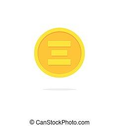 plat, argent, dessin animé, cryptocurrency, ethereum, vecteur, monnaie, éther, icône