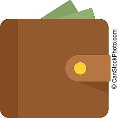 plat, argent, icône, style, portefeuille