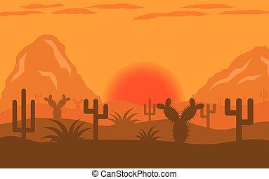 plat, arizona, désert, conception, paysage, coucher soleil, ou, levers de soleil