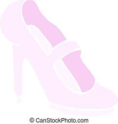 plat, armé, couleur, illustration, élevé, chaussure, dessin animé