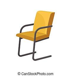 plat, armchair., moderne, métal, jaune, clair, vecteur, armrests., élégant, jambes chaise, tapisserie ameublement, icône