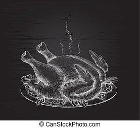 plat, arrière-plan noir, poulet grillé, épices