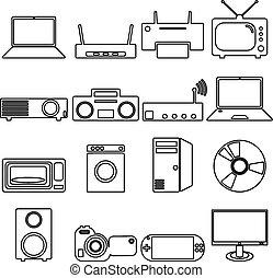 plat, artikelen & hulpmiddelen, iconen, verzameling, elektrisch, lang, shadow., symbo