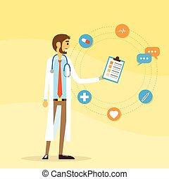 plat, arts, medisch portret, mannelijke , pictogram