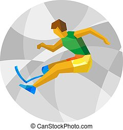 plat, athlete., fysisch, invalide, springt, icon., sportende