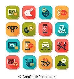 plat, auto, iconen, set