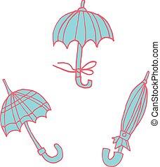 plat, autocollant, icon., parapluies, dessin animé