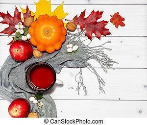 plat, automne, clair, pommes, fond, citrouille