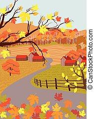 plat, automne, saison, campagne, dessin animé, village