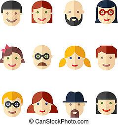 plat, avatars, gens font face, icônes