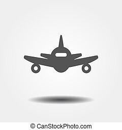 plat, avion, gris, icône