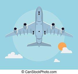 plat, avion, illustration