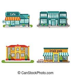 plat, bâtiments, café, ensemble