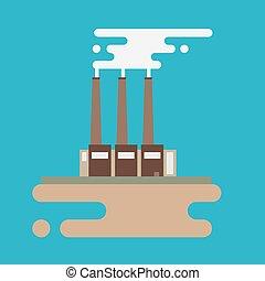 plat, bâtiments, concept, usine, dessin industriel, style.