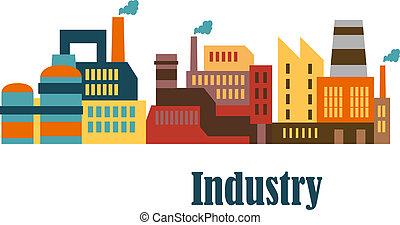 plat, bâtiments, dessin industriel