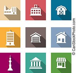 plat, bâtiments, ensemble, icônes