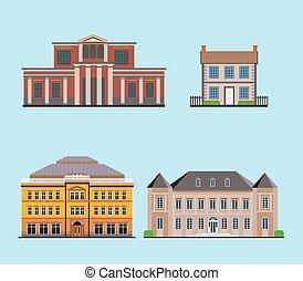 plat, bâtiments, historique