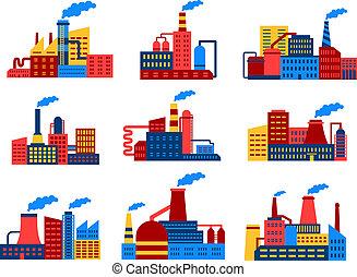 plat, bâtiments, industriel, icônes