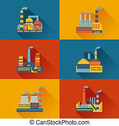 plat, bâtiments, industriel, usine, conception, style.