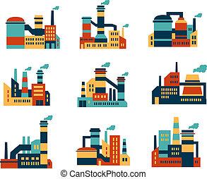 plat, bâtiments, industriel, usines, icônes