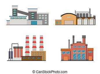 plat, bâtiments, usine