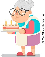 plat, bakken, oud, huisgezin, karakter, illustratie, vector, ontwerp, oma, taart, complimentary, dame, spotprent