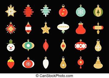 plat, bal, 1, vastgesteld ontwerp, versieringen, kerstmis, pictogram