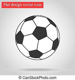 plat, bal, illustratie, vector, design., voetbal, pictogram