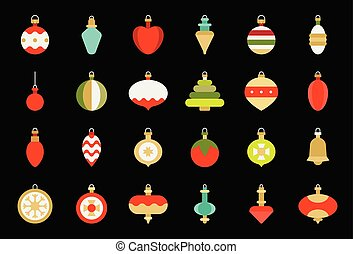 plat, bal, vastgesteld ontwerp, versieringen, 2, kerstmis, pictogram