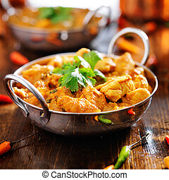 plat, balti, poulet, indien, curry