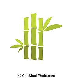 plat, bambou, tige, vert, icône