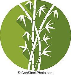 plat, bambou, tiges, vert, icône