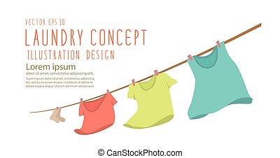 plat, banner., clothesline, titre, venteux, vector., pendre...