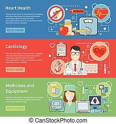 plat, bannières, cardiologie