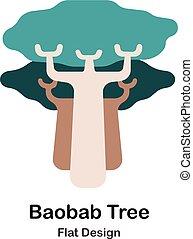 plat, baobab arbre, icône