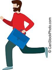 plat, barbu, caractère, style, illustration, vecteur, running., homme