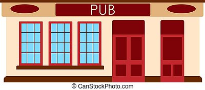 plat, barre, illustration, vecteur, pub, anglaise, façade, icon., bâtiment.