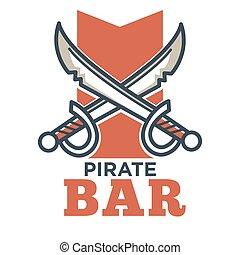 plat, barre, isolé, étiquette, logo, blanc, pirate