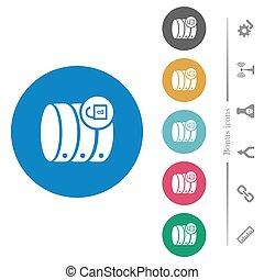 plat, base données, icônes, rond, ouvrir