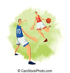 plat, basket-ball, arrière-plan., résumé, hommes, isolé, illustration, style., joueurs, vecteur, blanc, jouer, ball.