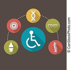 plat, begrensd, kleurrijke, iconen, kansen, invalide, gebrek, geboorte