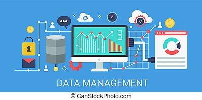 plat, begrip beelden, data, moderne, text., vector, management, spandoek