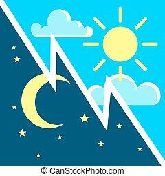 plat, begrip beelden, zon, maan, vector, nacht, dag, contrast