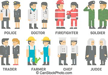 plat, beroepen, vastgesteld ontwerp, mensen