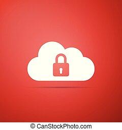 plat, bescherming, gegevensverwerking, slot, concept., vrijstaand, illustratie, achtergrond., vector, wolk, icon., pictogram, veiligheid, rood, design.