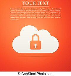 plat, bescherming, gegevensverwerking, slot, concept., vrijstaand, illustratie, achtergrond., vector, sinaasappel, icon., pictogram, veiligheid, wolk, design.