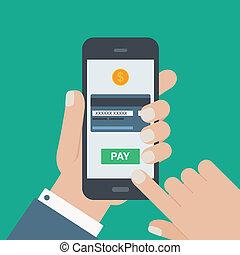 plat, beweeglijk, hand, telefoon, vasthouden, betaling
