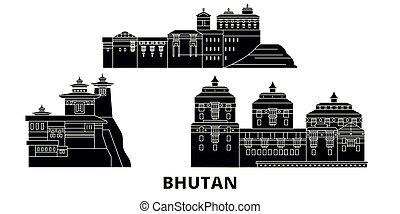 plat, bhoutan, illustration, voyage, landmarks., symbole, horizon, vecteur, noir, vues, ville, set.