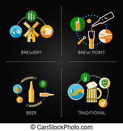 plat, bier, set, iconen